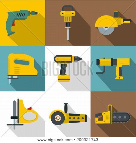 Industrial tools icons set. Flat set of 9 industrial tools vector icons for web with long shadow