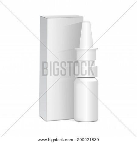 Spray Nasal or Eye Antiseptic Drugs. White Plastic Bottle With Box. Common Cold, Allergies. Realistic Vector Mock Up for your design