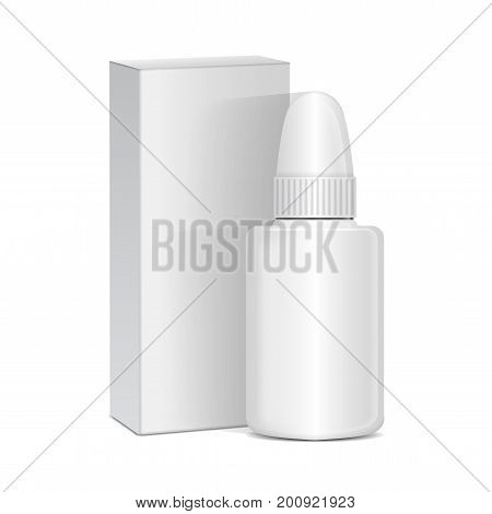 Vector Spray Nasal or Eye Antiseptic Drugs. White Plastic Bottle With Box. Common Cold, Allergies. Realistic Mock Up for your design