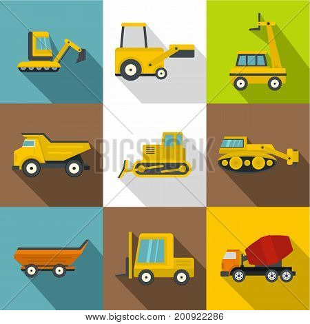 Special construction vehicles icons set. Flat set of 9 special construction vehicles vector icons for web with long shadow