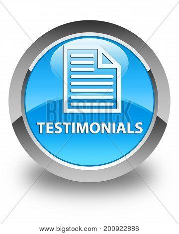 Testimonials (page Icon) Glossy Cyan Blue Round Button