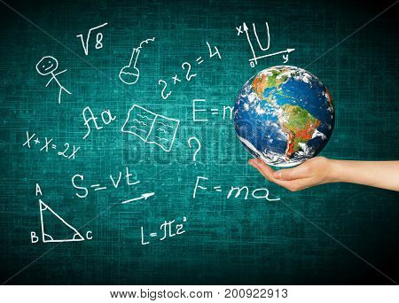 Globe and symbols of the school. Educational concept. Illustration 3d of educational concept. Back to school concept. Elements of this image furnished by NASA. 3D illustration