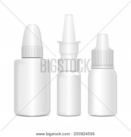 Set of Spray Nasal or Eye Antiseptic Drugs. White Plastic Bottle With Box. Common Cold, Allergies. Vector Realistic Mock Up for your design