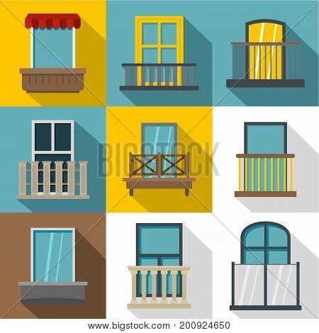 Decorative elements on windows icons set. Flat set of 9 decorative elements on windows vector icons for web with long shadow