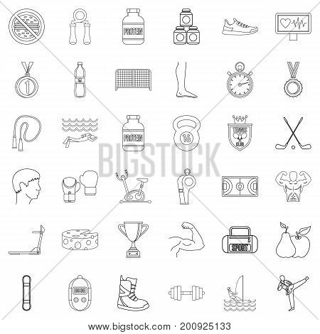 Sportsman icons set. Outline style of 36 sportsman vector icons for web isolated on white background