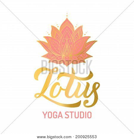 Hand lettering gilding logo for yoga studio. Lotus flower with pint elements. Vector illustration.