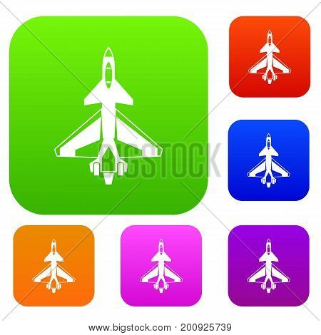 Military fighter jet set icon in different colors isolated vector illustration. Premium collection