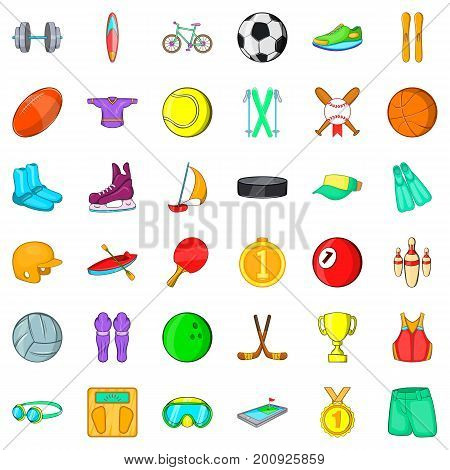 Sportsman icons set. Cartoon style of 36 sportsman vector icons for web isolated on white background