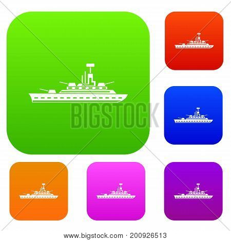 Military warship set icon in different colors isolated vector illustration. Premium collection
