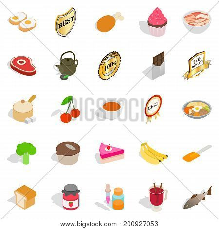 Commodity icons set. Isometric set of 25 commodity vector icons for web isolated on white background