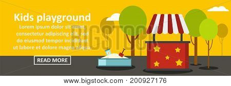 Kids playground banner horizontal concept. Flat illustration of kids playground banner horizontal vector concept for web