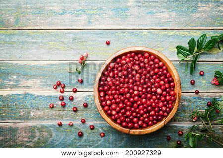 Organic fresh cowberry (lingonberry partridgeberry foxberry) in wooden bowl on rustic vintage table top view. Copy space for text.