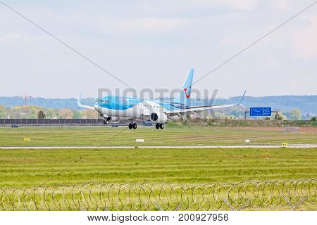 Airplane From Tuifly On Landing Approach, Airport Stuttgart, Germany