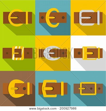 Metal buckle icons set. Flat set of 9 metal buckle vector icons for web with long shadow