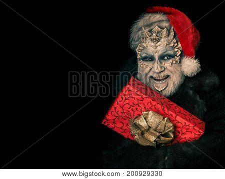 Happy Monster In Santa Hat And Fur Coat