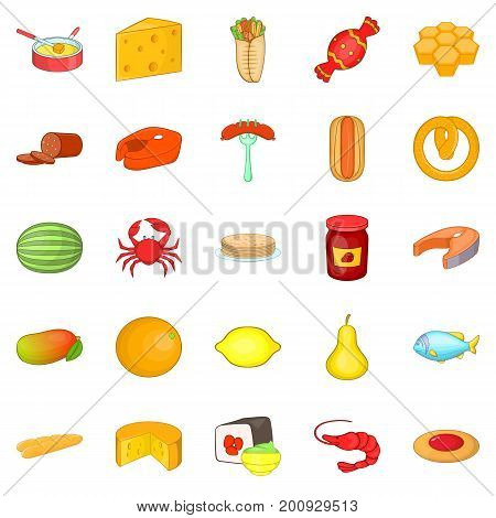 Seafood icons set. Cartoon set of 25 seafood vector icons for web isolated on white background
