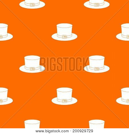 Leprechaun hat pattern repeat seamless in orange color for any design. Vector geometric illustration
