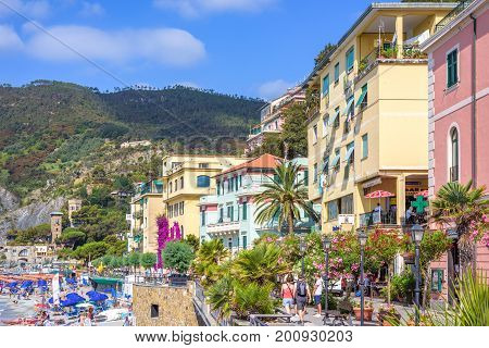 MONTEROSSO AL MARE, ITALY - JUNE 25, 2017: Daylight view to Monterosso al Mare mountains and city streets with buildings. Italy, Cinque Terre