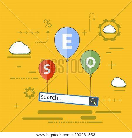 SEO optimization. Balloons with analytics search information. Flat infographics. Stock vector icon illustration.