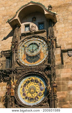 Famous astronomical clock in the old town of Prague