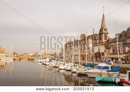 The Vieux Bassin quay, old port of Honfleur in Normandy region of France