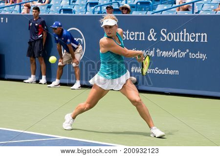 Mason Ohio - August 14 2017: Daria Gavrilova in a first round match at the Western and Southern Open tennis tournament in Mason Ohio on August 14 2017.