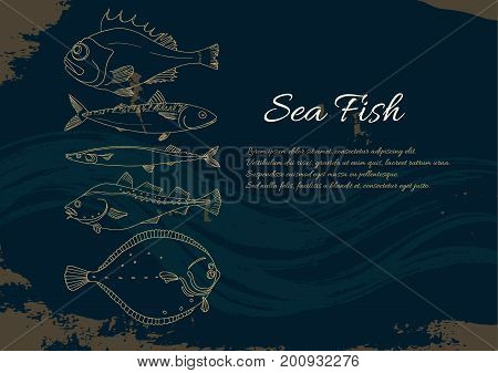 Template with set of sea fish on a black background. Place for text. Perch cod mackerel flounder saira. Vector doodle. Illustration isolated and grouped for easy editing.