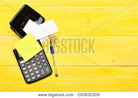 Business And Work Concept: Stationery On Vintage Surface, Top View