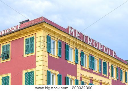 SANTA MARGHERITA LIGURE, ITALY - JUNE 27, 2017: Daylight view to Metropole Hotel in Santa Margherita Ligure, Italy.