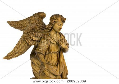 Lovely wooden carved kneeling Angel vintage wooden vintage isolated on white with clipping