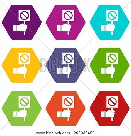 Hand showing stop signboard icon set many color hexahedron isolated on white vector illustration