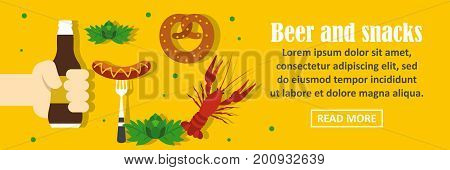 Beer and snacks banner horizontal concept. Flat illustration of beer and snacks banner horizontal vector concept for web