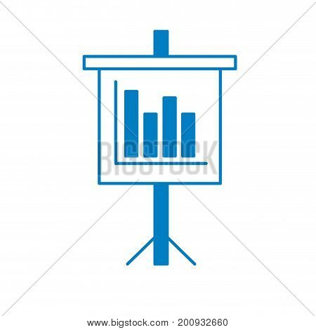 silhouette presentation business document with statistics bars graphy vector illustration