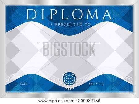 Diploma, Certificate of completion (abstract design template, background) with silver frame and dark blue pattern