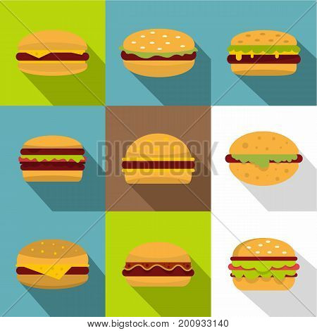 Fast food icons set. Flat set of 9 fast food vector icons for web with long shadow
