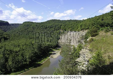 Overlook of Genesee River running through the Letchworth State Park Gorge.