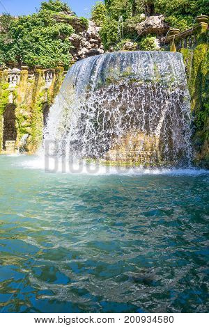 Tivoli , Italy - March 12, 2014: Villa D'Este, view of the Ovato fountain