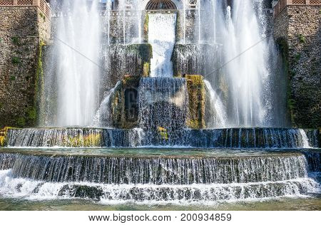 Tivoli , Italy - March 12, 2014: Villa D'Este, deyail of the Organ fountain