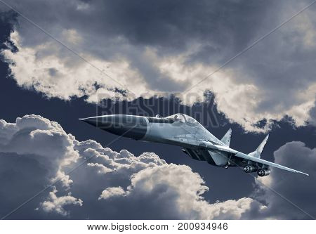 Airplane fighter in the clouds. Fighter in attack