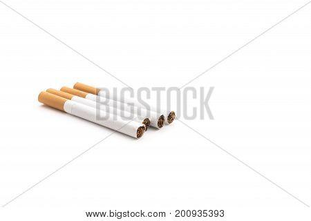Four bad Cigarettes isolated on white background