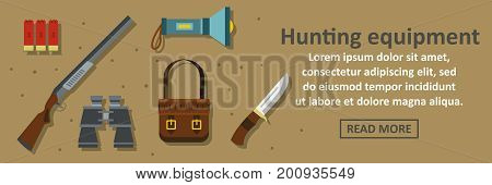 Hunting equipment banner horizontal concept. Flat illustration of hunting equipment banner horizontal vector concept for web