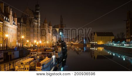 Picture of Gdansk old town at night