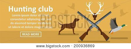 Hunting club banner horizontal concept. Flat illustration of hunting club banner horizontal vector concept for web