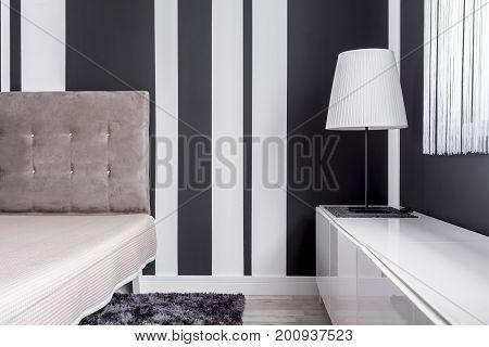 Elegant Bed And Lamp