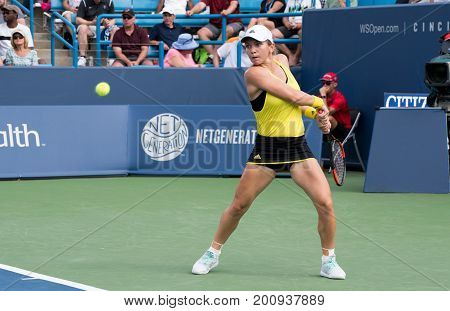 Mason Ohio - August 15 2017: Simona Halep in a second round match at the Western and Southern Open tennis tournament in Mason Ohio on August 15 2017.