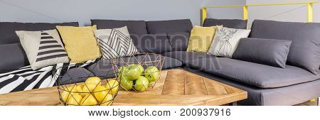 Citruses And Apples On Wooden Table