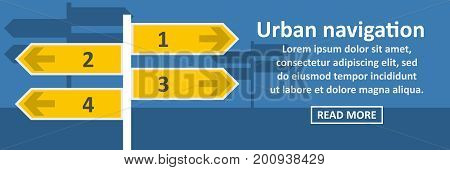 Urban navigation banner horizontal concept. Flat illustration of urban navigation banner horizontal vector concept for web