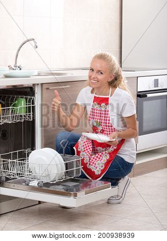 Woman With Dishwasher