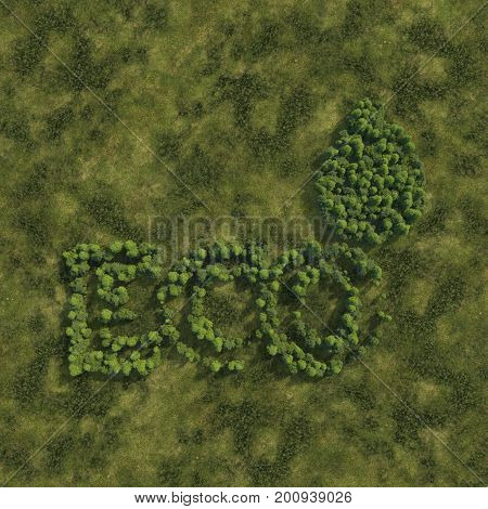 3d rendering ultra high quality. Eco icon from small trees with drop shadow on grass background. Modern minimalistic icon in green colors. View from above