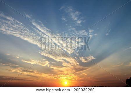 Sunset Nightfall The orange sun goes beyond the horizon